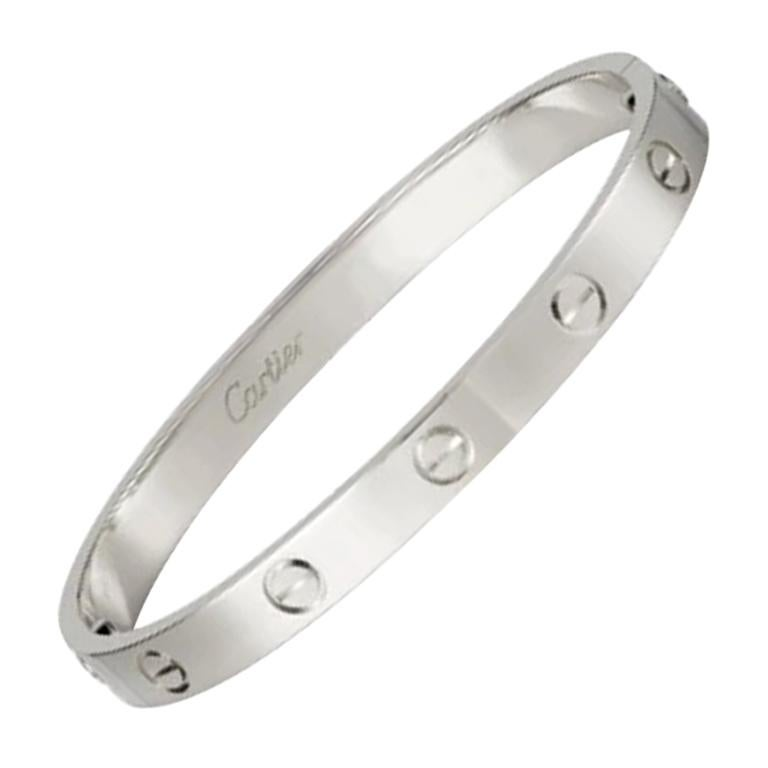 Cartier Love Bracelet in 18 Karat White Gold For Sale
