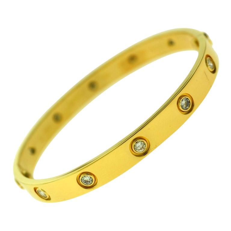 Cartier Love Bracelet in 18 Karat Yellow Gold, 10 Diamonds For Sale