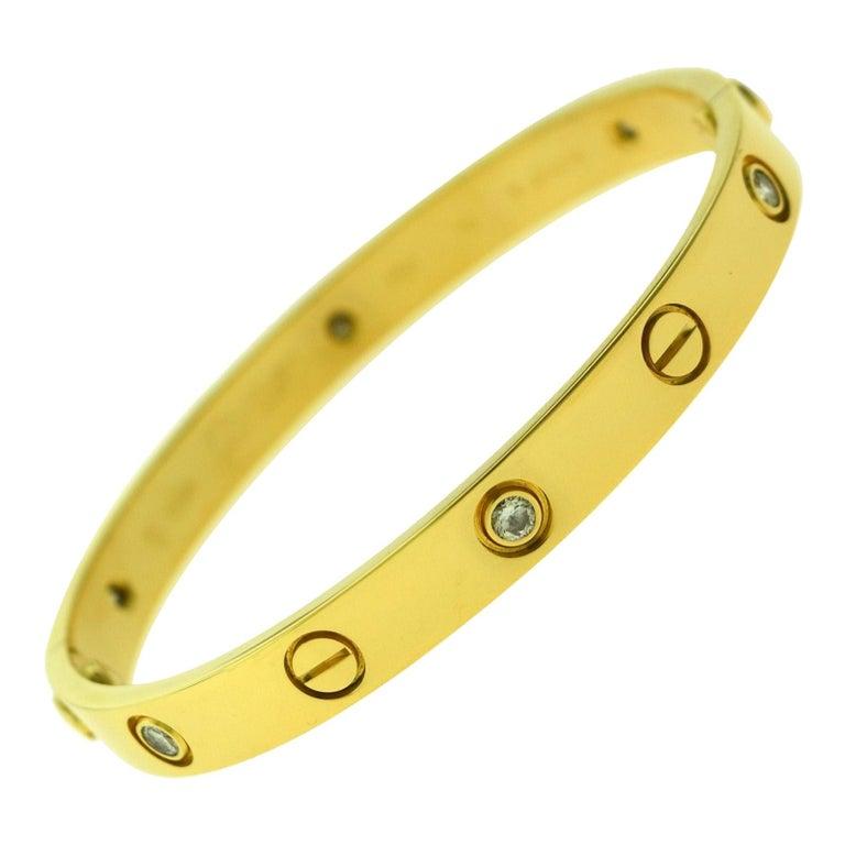 Cartier Love Bracelet in 18 Karat Yellow Gold, 6 Diamonds For Sale