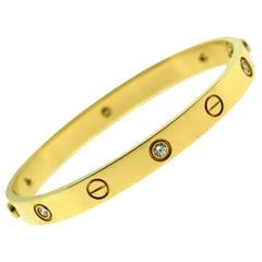 Cartier Love Bracelet in 18 Karat Yellow Gold, 6 Diamonds