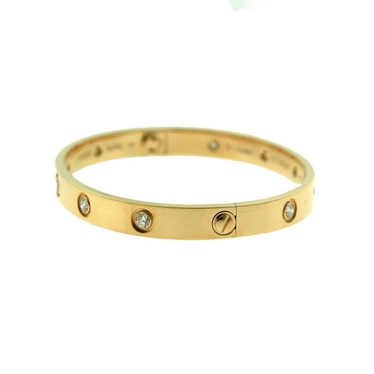 Round Cut Cartier Love Bracelet in 18 Karat Rose Gold, 10 Diamonds For Sale