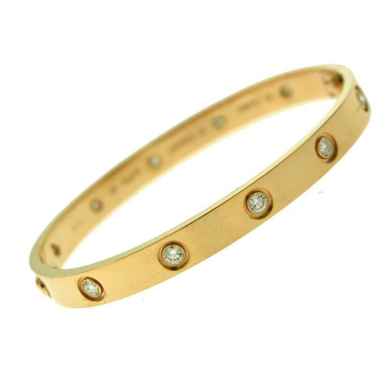 Cartier Love Bracelet in 18 Karat Rose Gold, 10 Diamonds In Excellent Condition For Sale In Miami, FL