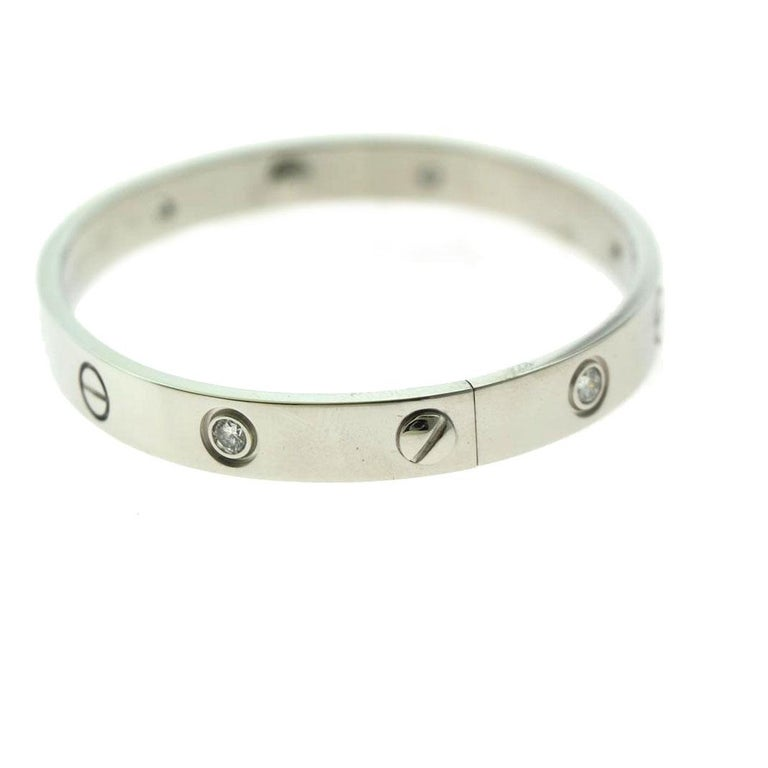 Round Cut Cartier Love Bracelet in 18 Karat White Gold, 6 Diamonds Bracelet For Sale