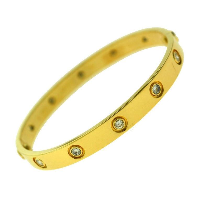 Cartier Love Bracelet in 18 Karat Yellow Gold, 10 Diamonds In Excellent Condition For Sale In Miami, FL
