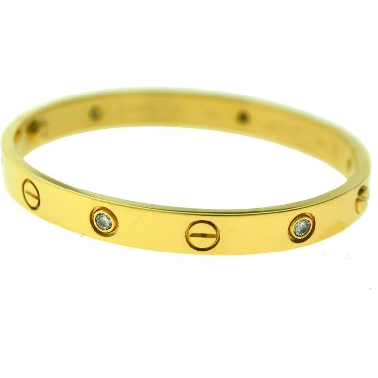Round Cut Cartier Love Bracelet in 18 Karat Yellow Gold, 6 Diamonds For Sale