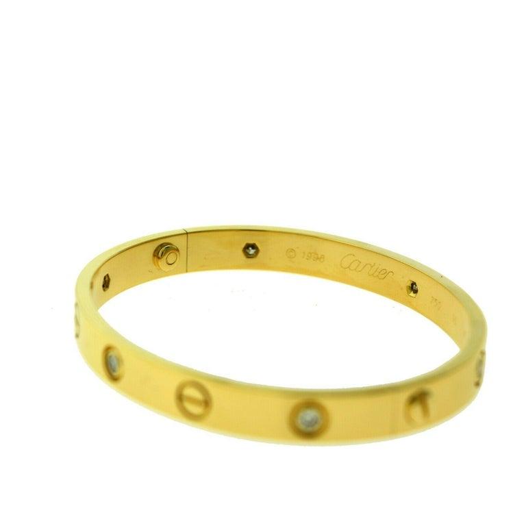 Cartier Love Bracelet in 18 Karat Yellow Gold, 6 Diamonds In Excellent Condition For Sale In Miami, FL