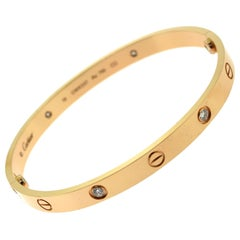 Cartier Love Bracelet in Rose Gold with 4 Diamonds, 'C-337'