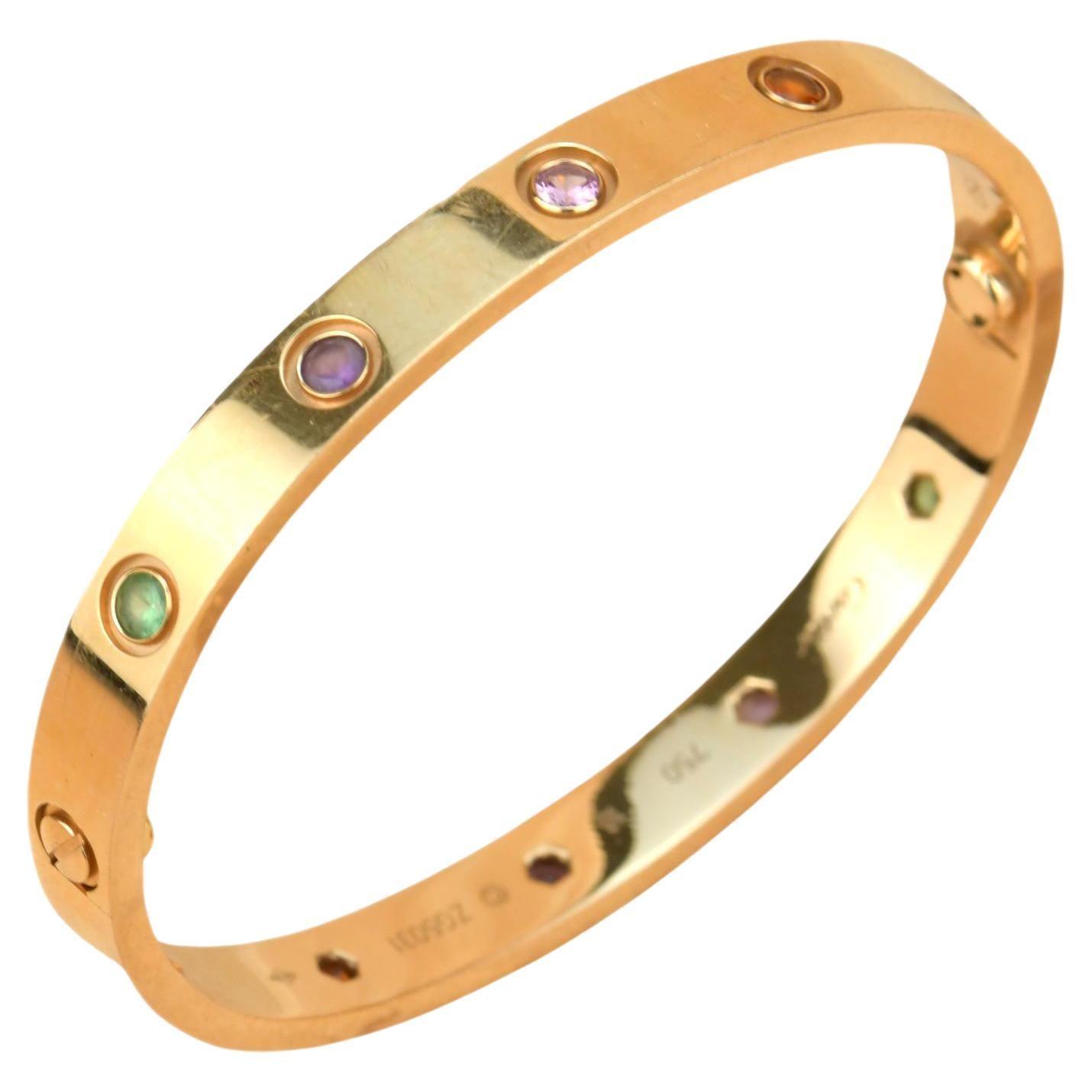 Cartier Love Bracelet Multi Gem Rainbow Rose Gold