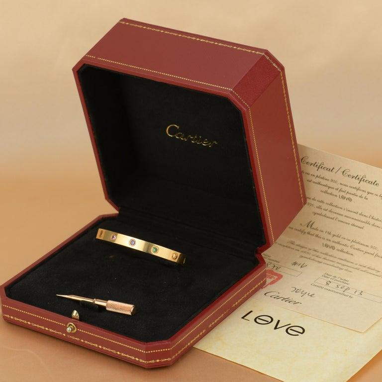 Brilliant Cut Cartier Love Bracelet Multi Gem Rose Gold