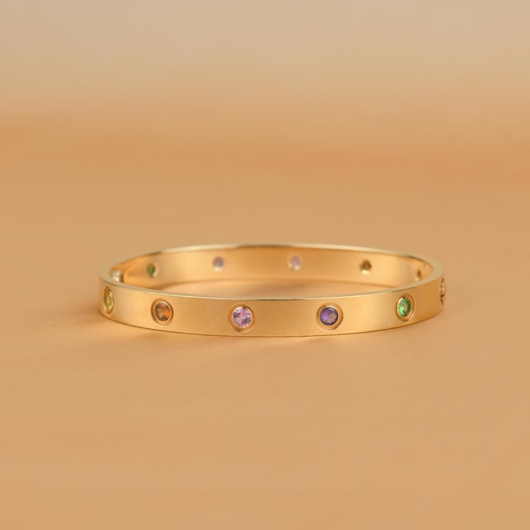 Cartier Love Bracelet Multi Gem Rose Gold In Good Condition In Banbury, GB