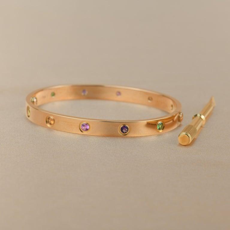 Cartier Love Bracelet Multi Gem Rose Gold 3