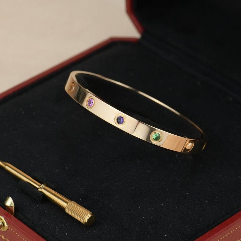 Cartier Love Bracelet Multi Gem Rose Gold 5