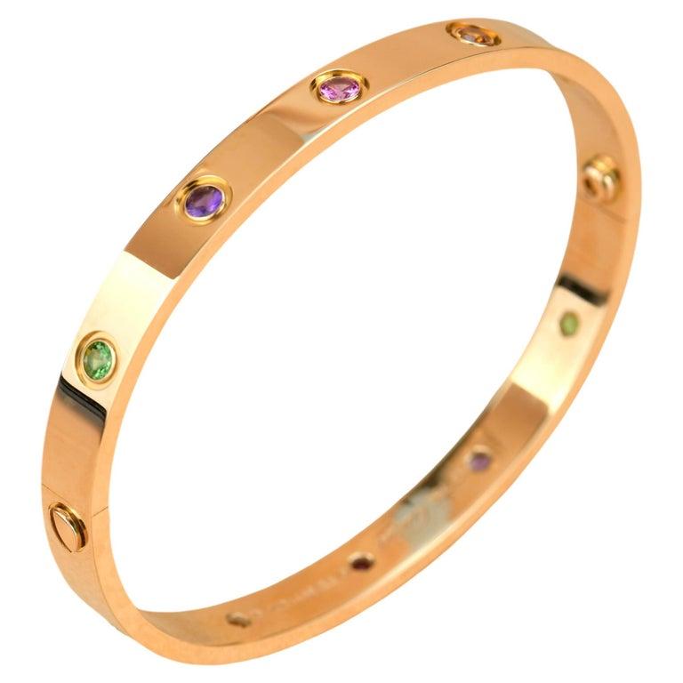 Cartier Love Bracelet Multi Gem Rose Gold