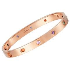 Cartier Love Bracelet Multi Gem Rose Gold with Box