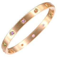 Cartier Love Bracelet Set In 10 Multi Gem Yellow Gold Size 16