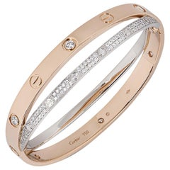 Cartier Love Bracelet Pink& White Gold DiamondsN6039218