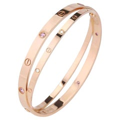 Cartier Love Bracelet Set in Rose Gold Diamond Pink Sapphire