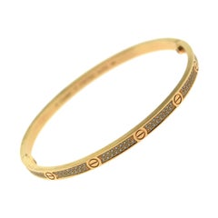 Cartier Love Bracelet Small Thin Diamond-Paved Bangle in Rose Gold