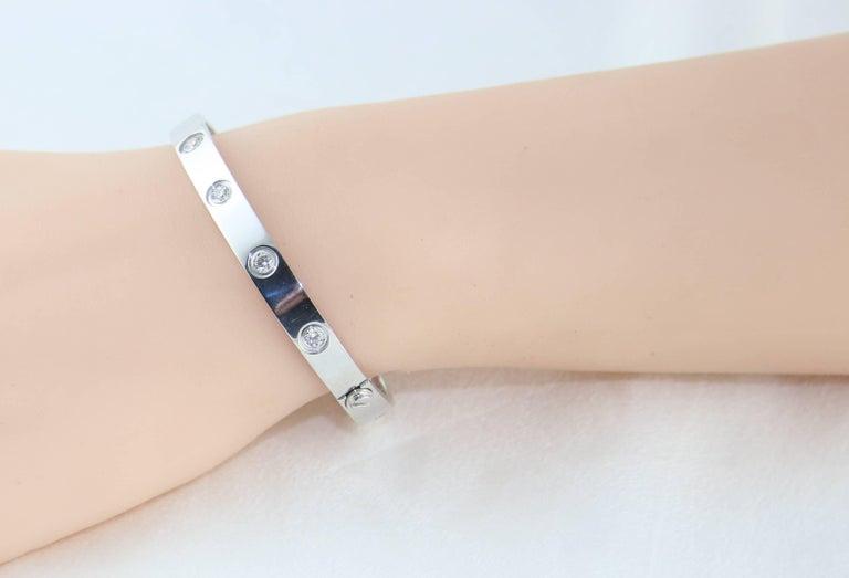 Contemporary Cartier Love Bracelet Ten Diamonds White Gold Bangle Bracelet For Sale