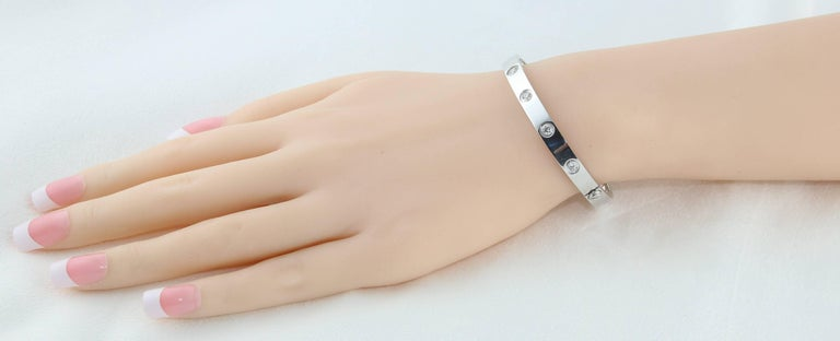 Round Cut Cartier Love Bracelet Ten Diamonds White Gold Bangle Bracelet For Sale