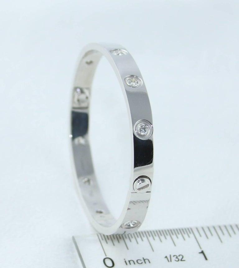 Cartier Love Bracelet Ten Diamonds White Gold Bangle Bracelet For Sale 1