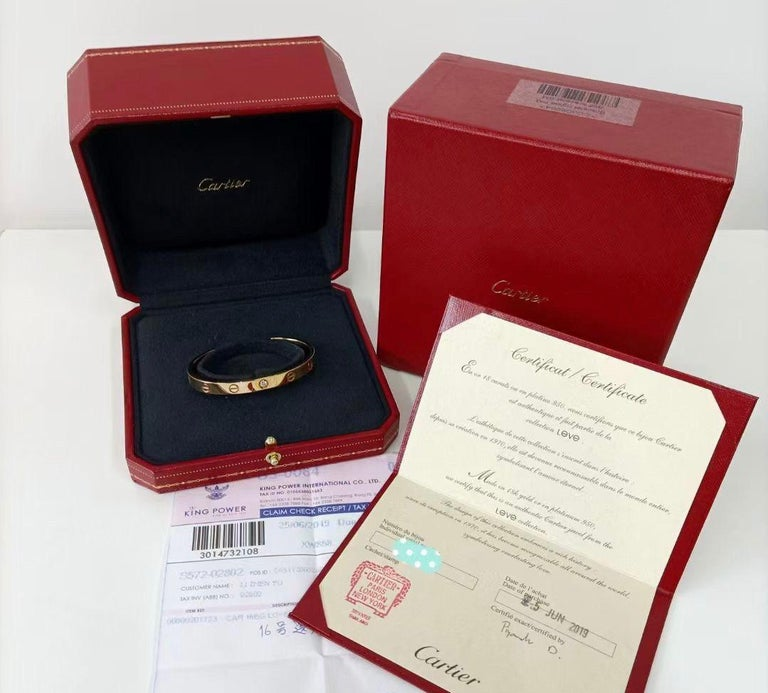 Brilliant Cut Cartier Love Bracelet with 1 Diamond 18K Yellow Gold Size 16 with Box and Card