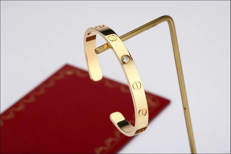 Cartier Love Bracelet with 1 Diamond 18K Yellow Gold Size 16 with Box and Card In Excellent Condition In Banbury, GB