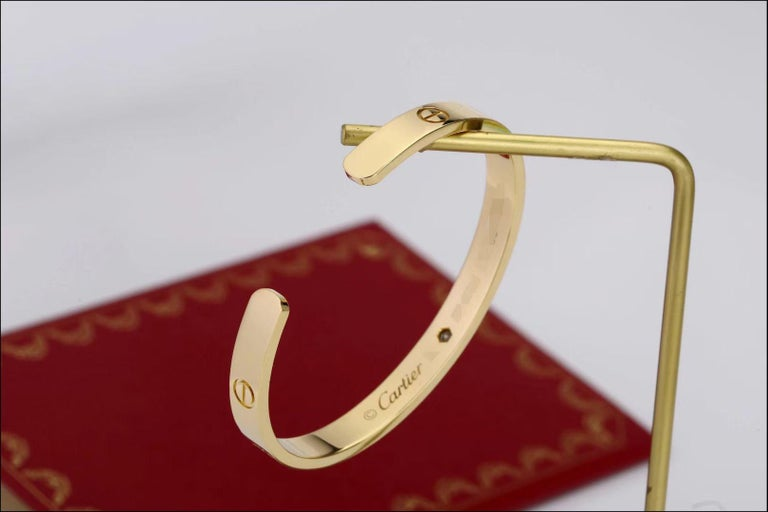 Women's or Men's Cartier Love Bracelet with 1 Diamond 18K Yellow Gold Size 16 with Box and Card