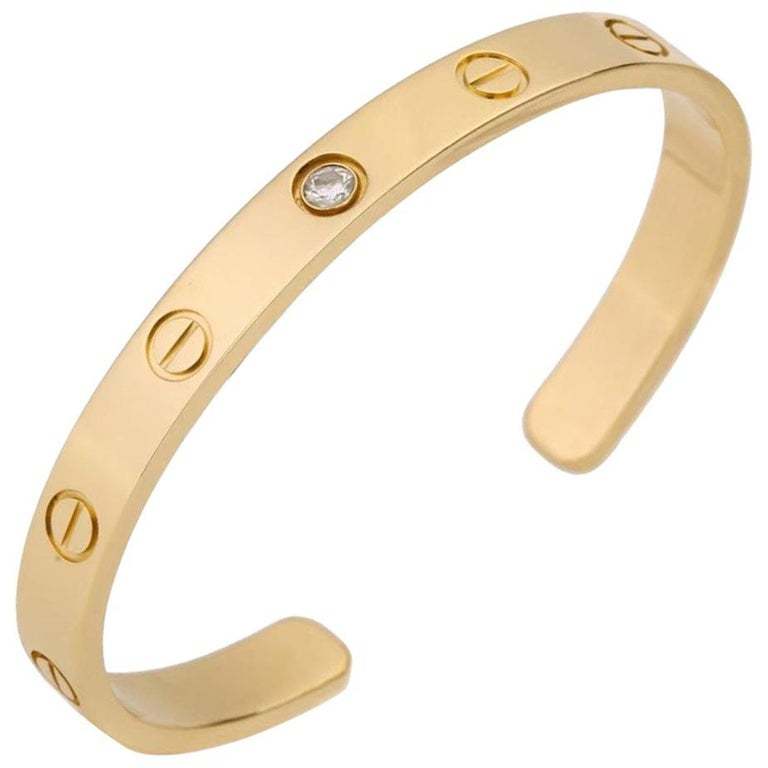Cartier Love Bracelet with 1 Diamond 18K Yellow Gold Size 16 with Box and Card