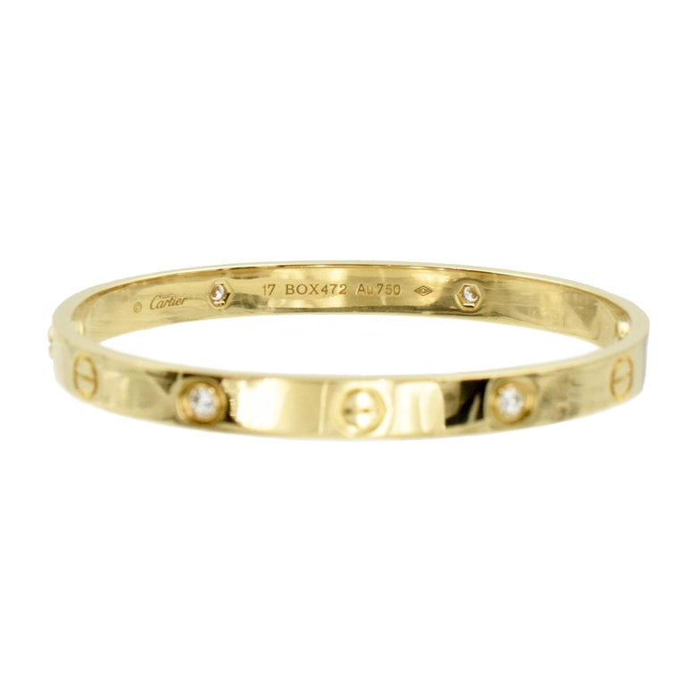 Round Cut Cartier Love Bracelet with Diamonds