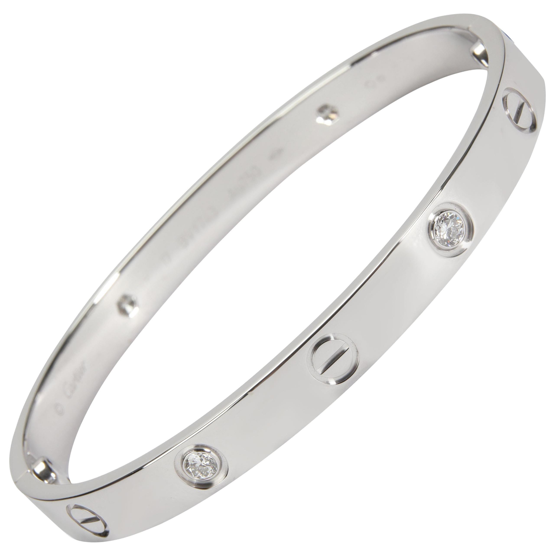 Cartier Love Bracelet with Diamonds in 18k White Gold 0.42 CTW