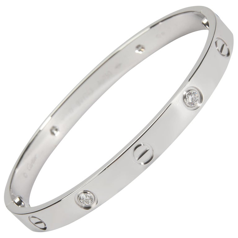 Cartier Love Bracelet with Diamonds in 18k White Gold 0.42 CTW For Sale