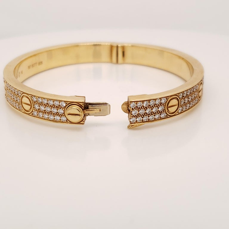Contemporary Cartier Love Bracelet Yellow Gold and Diamonds For Sale