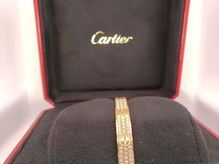 Round Cut Cartier Love Bracelet Yellow Gold and Diamonds For Sale