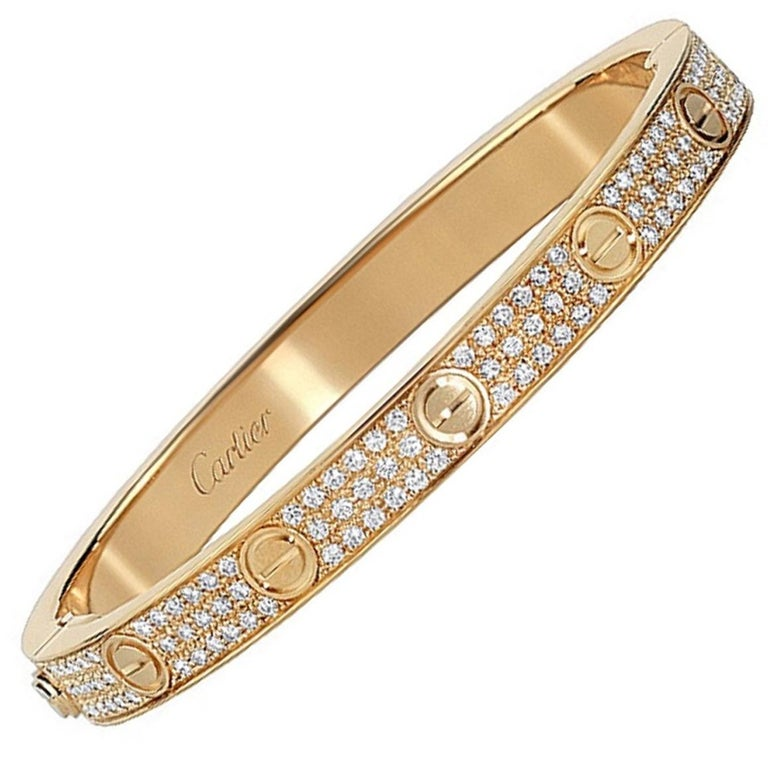 Cartier Love Bracelet Yellow Gold and Diamonds For Sale