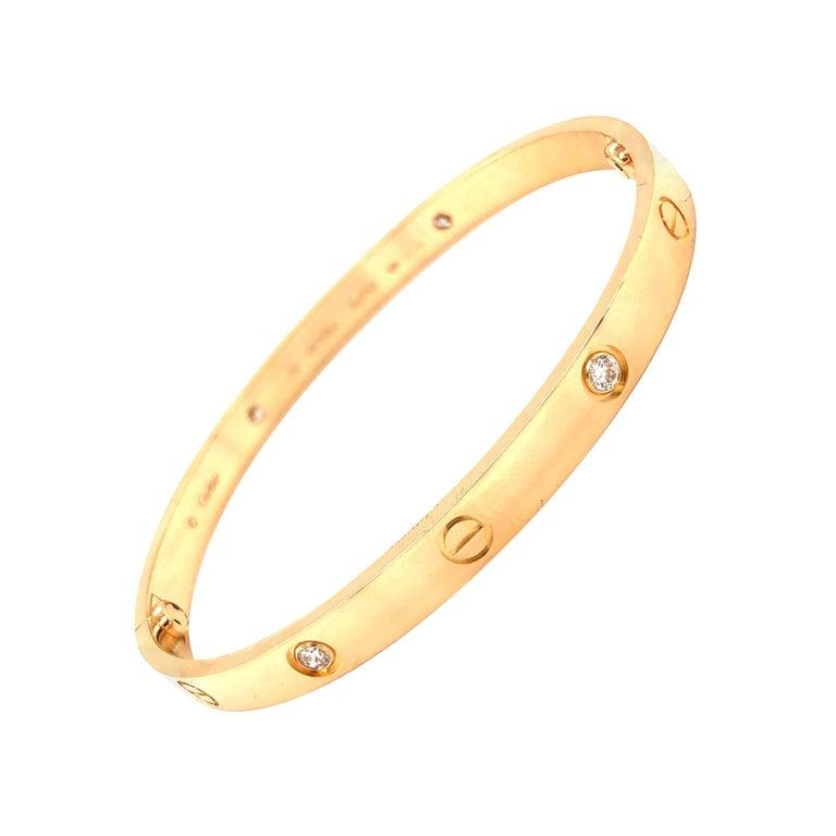 Cartier Love Bracelet Yellow Gold Four Diamond