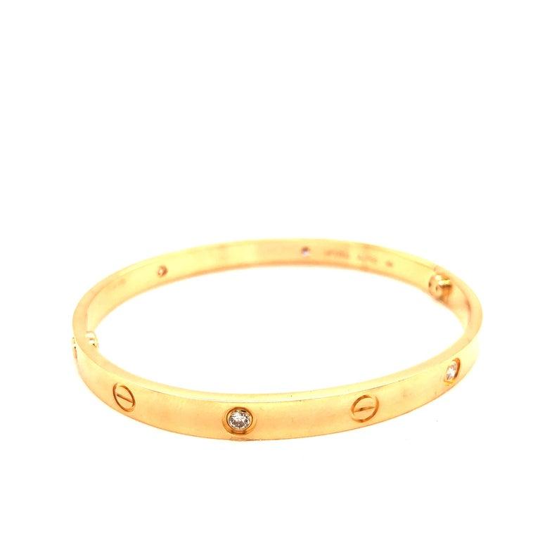 Round Cut Cartier Love Bracelet Yellow Gold Four Diamond