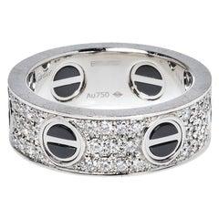 Cartier Love Ceramic Diamond Paved 18K White Gold Ring Size 52