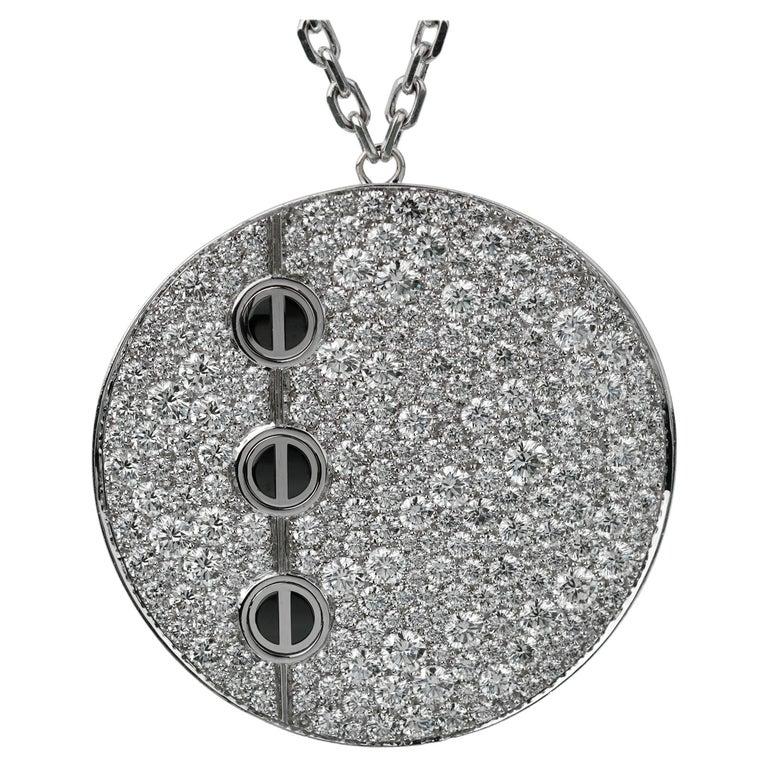 Cartier Love Ceramic Diamond Pendant Necklace For Sale