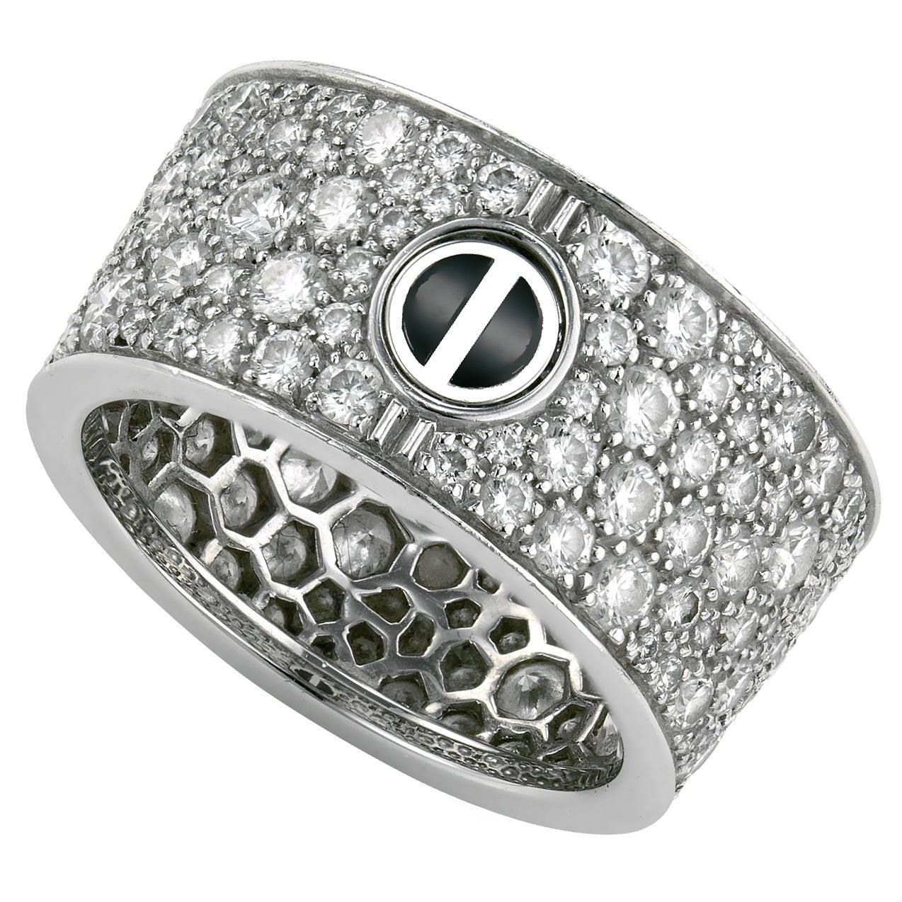 Cartier Love Ceramic Pave Diamond White Gold Ring