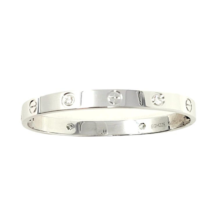 Cartier Love Collection 18 Karat White Gold and 4 Diamond Bangle Bracelet 16 For Sale 5
