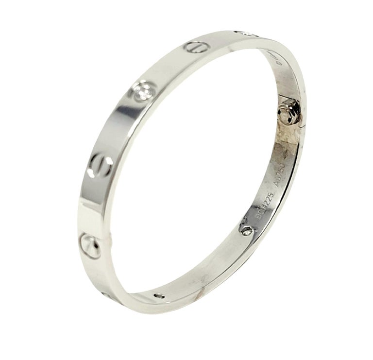 Cartier Love Collection 18 Karat White Gold and 4 Diamond Bangle Bracelet 16 For Sale 7