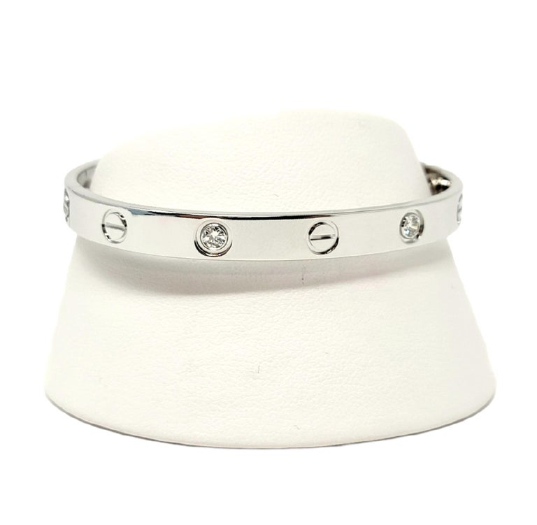 Cartier Love Collection 18 Karat White Gold and 4 Diamond Bangle Bracelet 16 For Sale 3