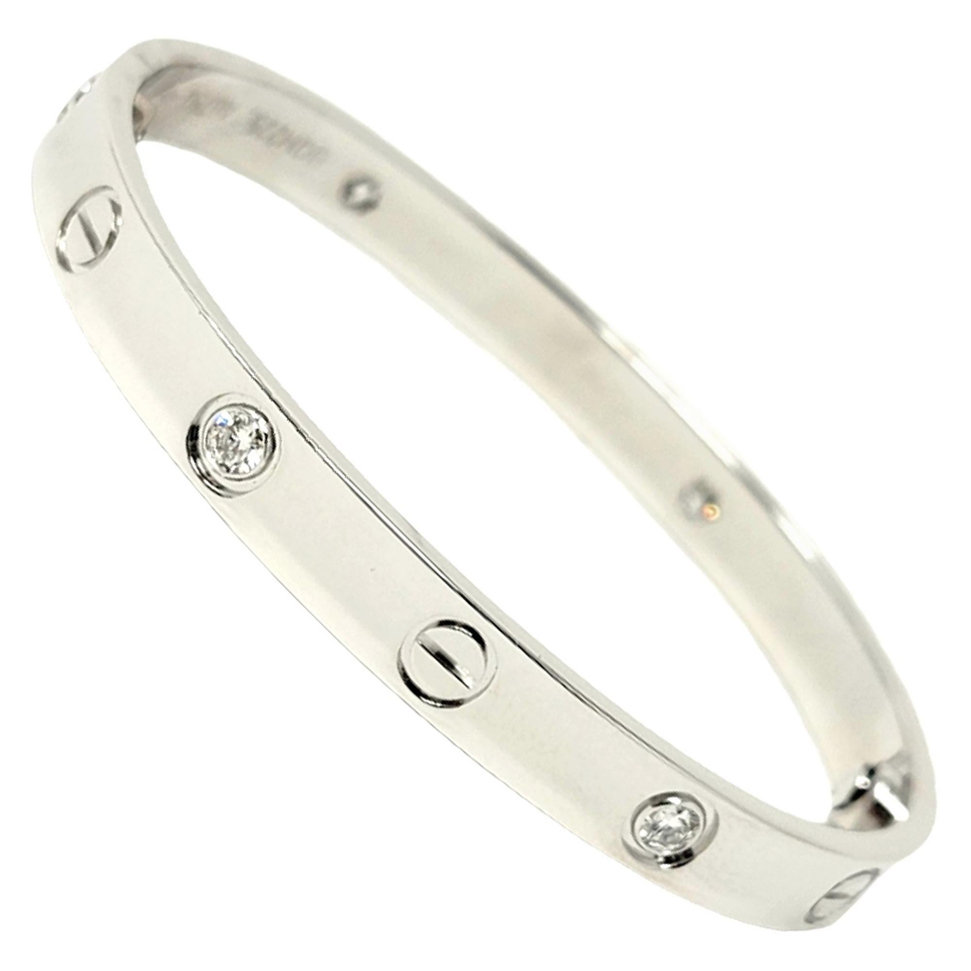 Cartier Love Collection 18 Karat White Gold and 4 Diamond Bangle Bracelet 16