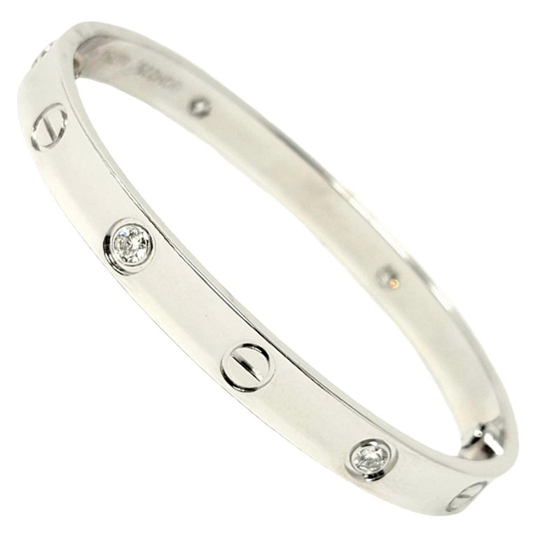 Cartier Love Collection 18 Karat White Gold and 4 Diamond Bangle Bracelet 16 For Sale