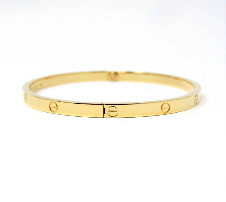 Cartier Love Collection Small 18 Karat Yellow Gold Bangle Bracelet with Box In Good Condition In Scottsdale, AZ