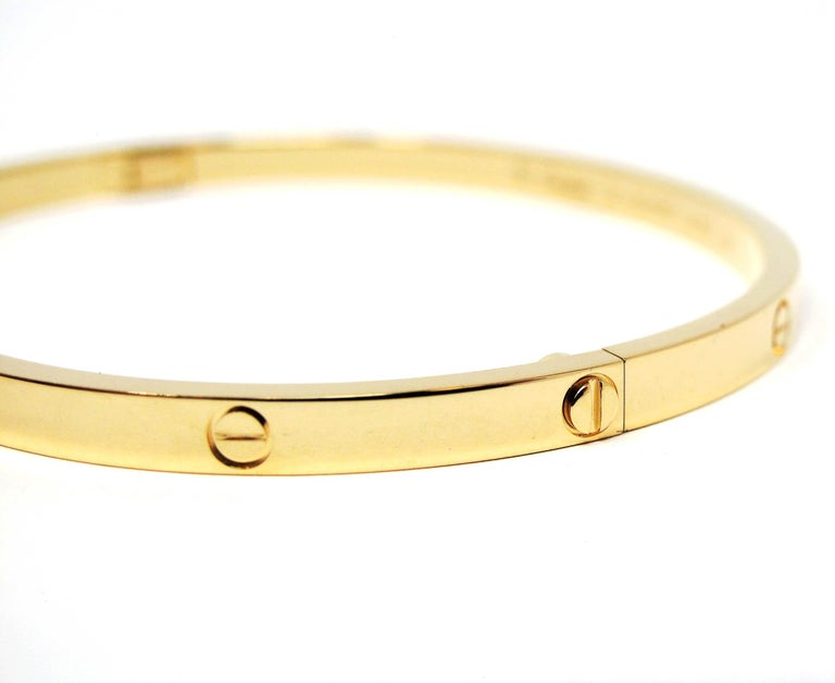 Women's or Men's Cartier Love Collection Small 18 Karat Yellow Gold Bangle Bracelet with Box