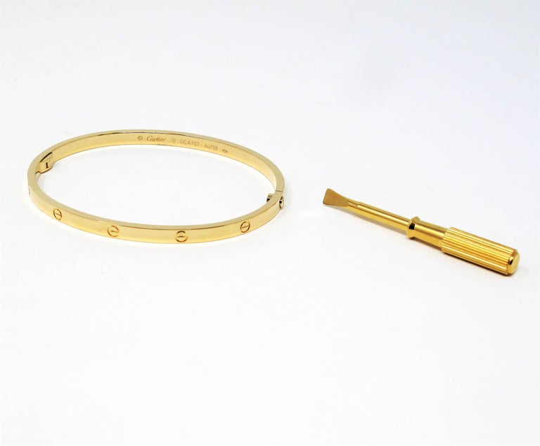 Cartier Love Collection Small 18 Karat Yellow Gold Bangle Bracelet with Box 1