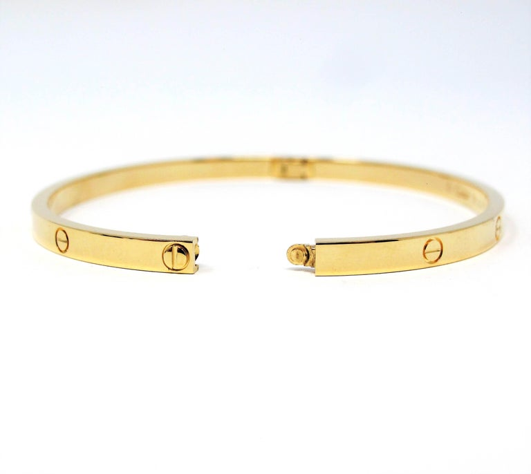 Cartier Love Collection Small 18 Karat Yellow Gold Bangle Bracelet with Box 2