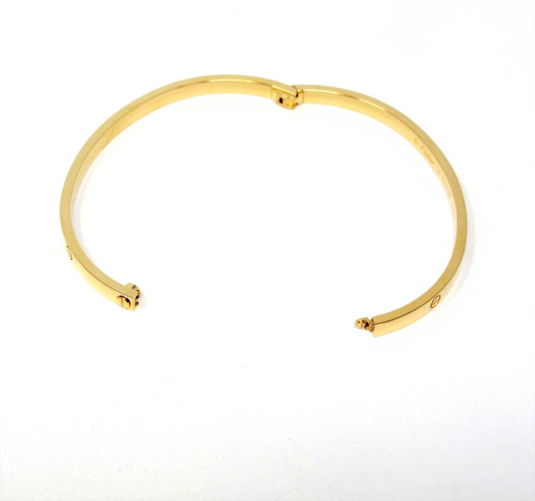 Cartier Love Collection Small 18 Karat Yellow Gold Bangle Bracelet with Box 3